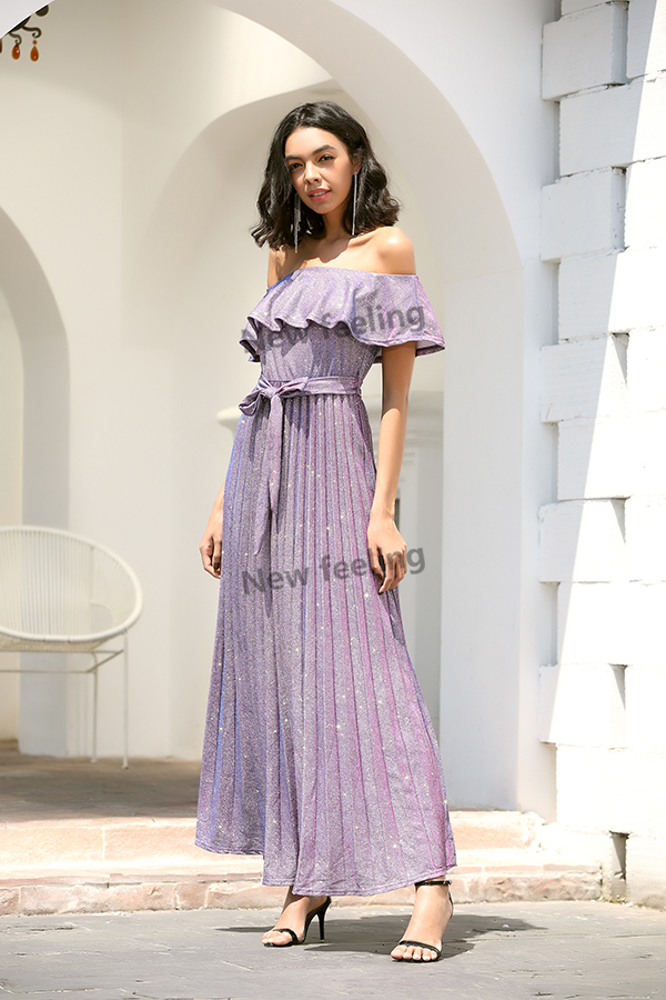 2020 Women Evening Dress Off Shoulder Ruffled Pleated Women Dress High Quality Maxi Shiny Party Dress