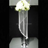 wholesale unique design acrylic crystal flower stand , wedding table centerpiece , gold flower stand