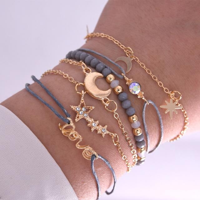 Nuevo estilo de pulsera ajustable con forma de luna y estrellas para chica, gran oferta Amazon, pulsera de Amistad estilo bohemio, joyería