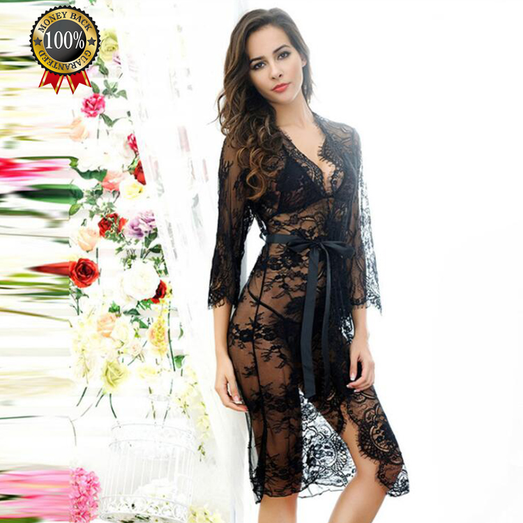 High Quality Cheapest Fantasie Femme Long Lace Night Robe Sexy Lingerie For Woman