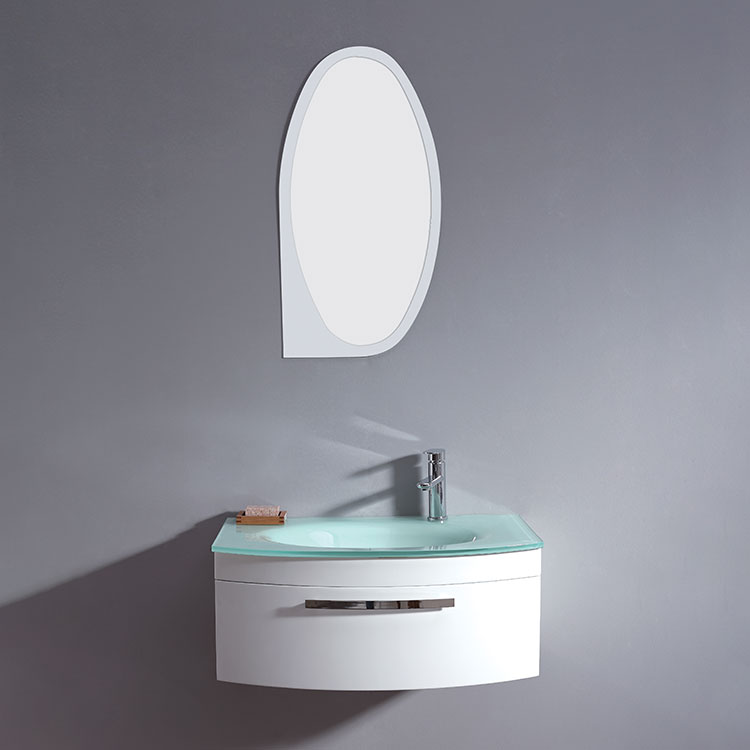 Modern Style New Product 600Mm Curved Bathroom Vanity Cabinet With Illuminated Mirror