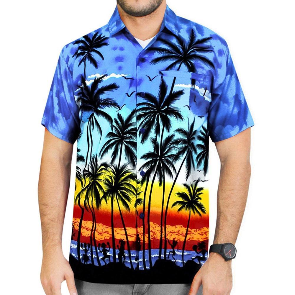 Precio al por mayor de manga corta de los hombres de impresión digital beach custom camisa hawaiana hombres