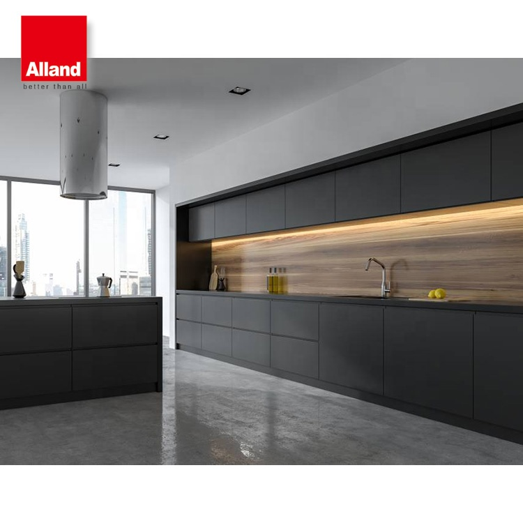 Bespoke Design Modern Two Pac Black Satin Finish Shaker Kitchen Cabinets Buy Bespoke Design Kitchen Cabinets Affordable Modern Russian Style Kitchen Counter Cabinets Flooring Furniture Cupboards Customized In Guangdong Foshan Premade L Shape