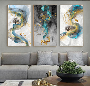 Abstract Golden Deer Painting Tableaux Big Size Poster Blue Print Gold Wall Art Picture Living Room Modern Cuadros Canvas Art