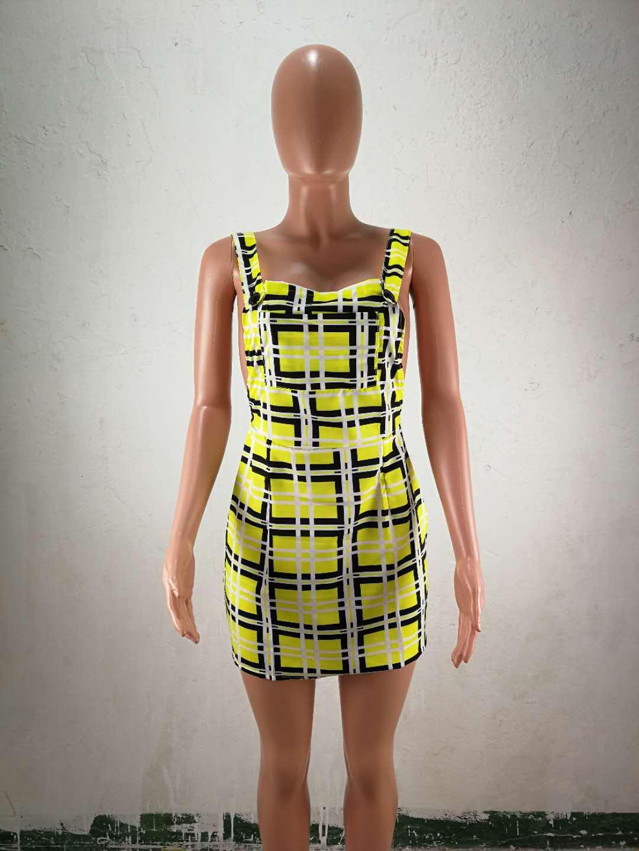 FM-HM6105 Fashion women clothing backless streetwear plaid dresses women summer short dress