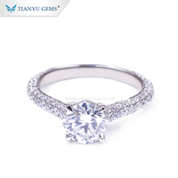 Tianyu gems new style platinum Ring colorless Moissanite PT950 engagement Ring for ladies