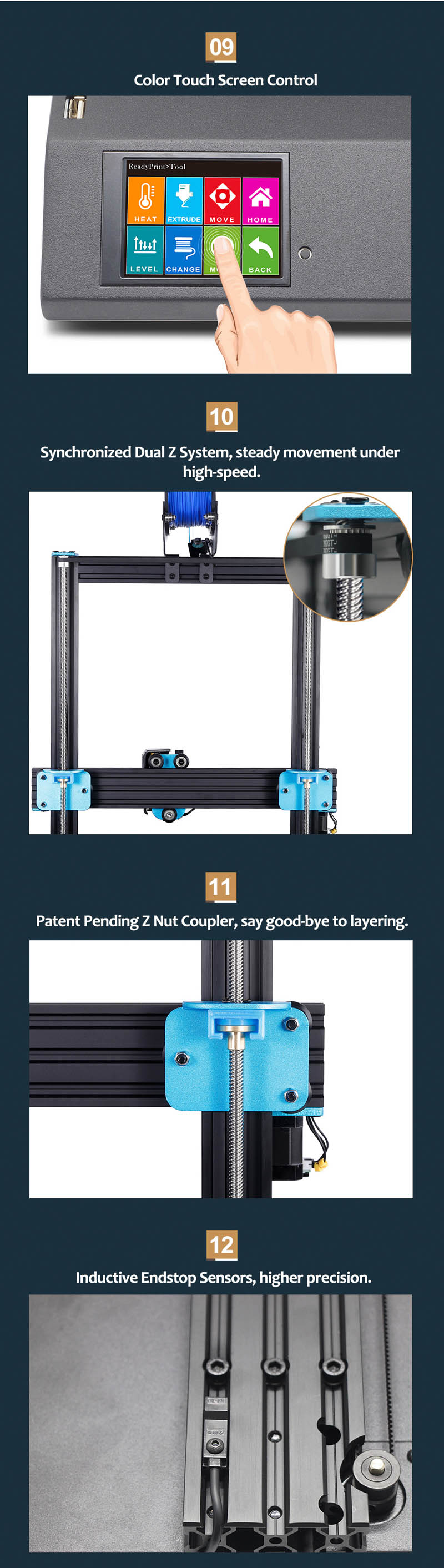 Forming Size  300x300x400mm Artillery Sidewinder X1 3D Printer Kit Support Resume Printing Filament Runout Detection