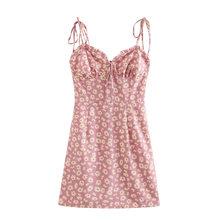 Платье 2020 Лето европейский и американский ветер французский маленький чистый и свежий и Дейзи печать с плечевыми ремнями(Китай)