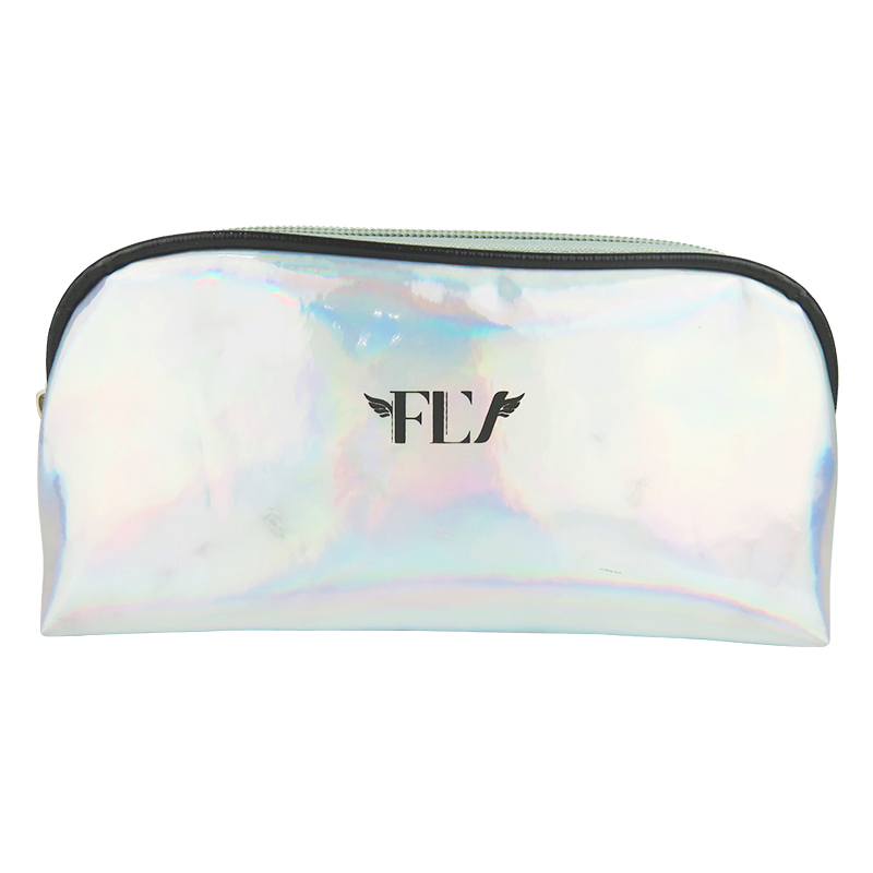 Custom holografische laser pu make up tas faux vegan lederen zakjes