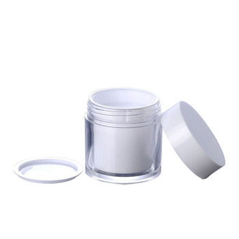 50g double wall white plastic cream jar with white lid