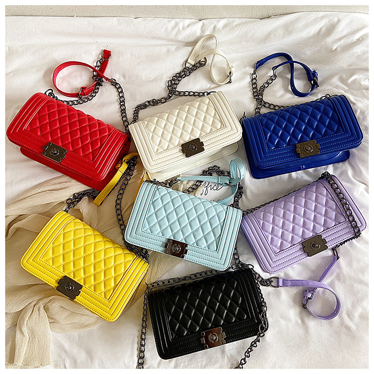 European and American fashion high quality small fragrant Lingge chain bag single shoulder slant tide crossing women's bag