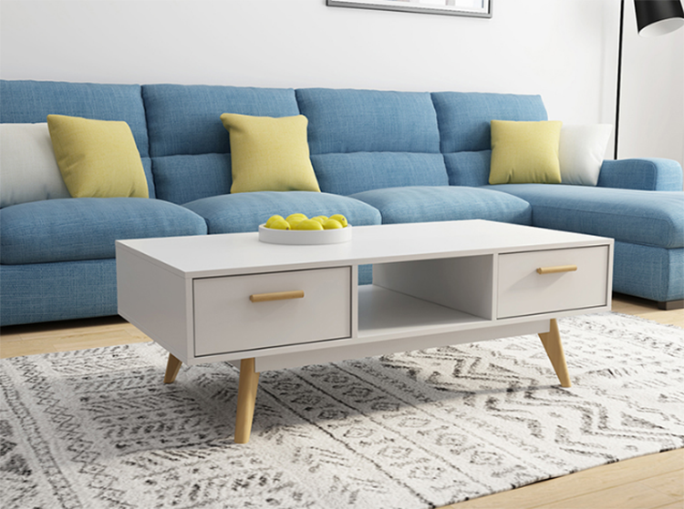 Bazhou sofa table living room white solid wood legs center table with drawers