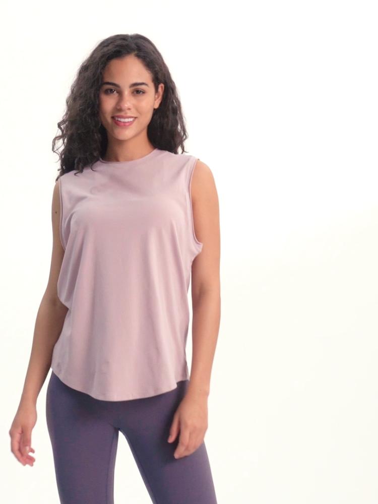Logotipo personalizado tecido respirável macio tanque verão encabeça mulheres treino de exercício de corrida camisas sem mangas yoga