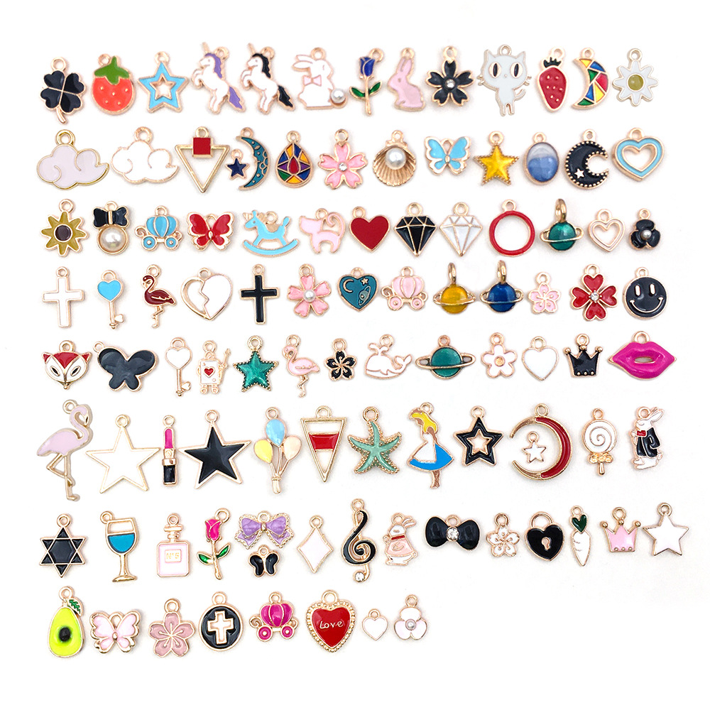 $15.9 for 100pcs Mixed Designs Cheap Wholesale Charms for jewelry making sorted Gold Plated Enamel Charm Animal Moon Star Fruit