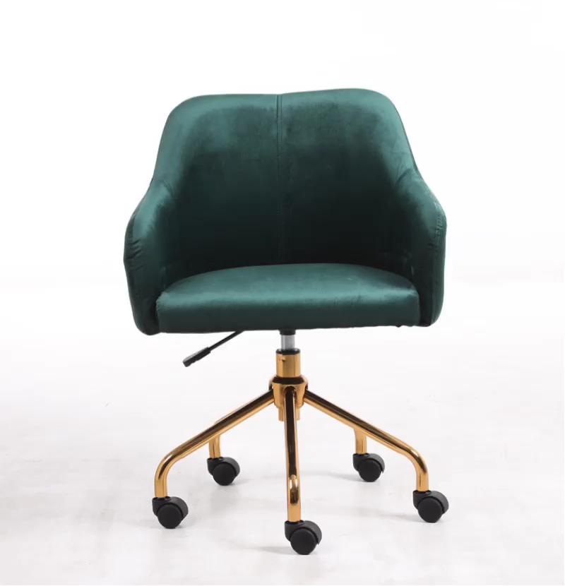Capa moderna de veludo com apoio para braço, cadeira giratória de mesa com rodas de escritório, móveis de sala de estar