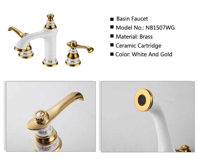 antique white high quality basin sink 3 hole bathroom faucet