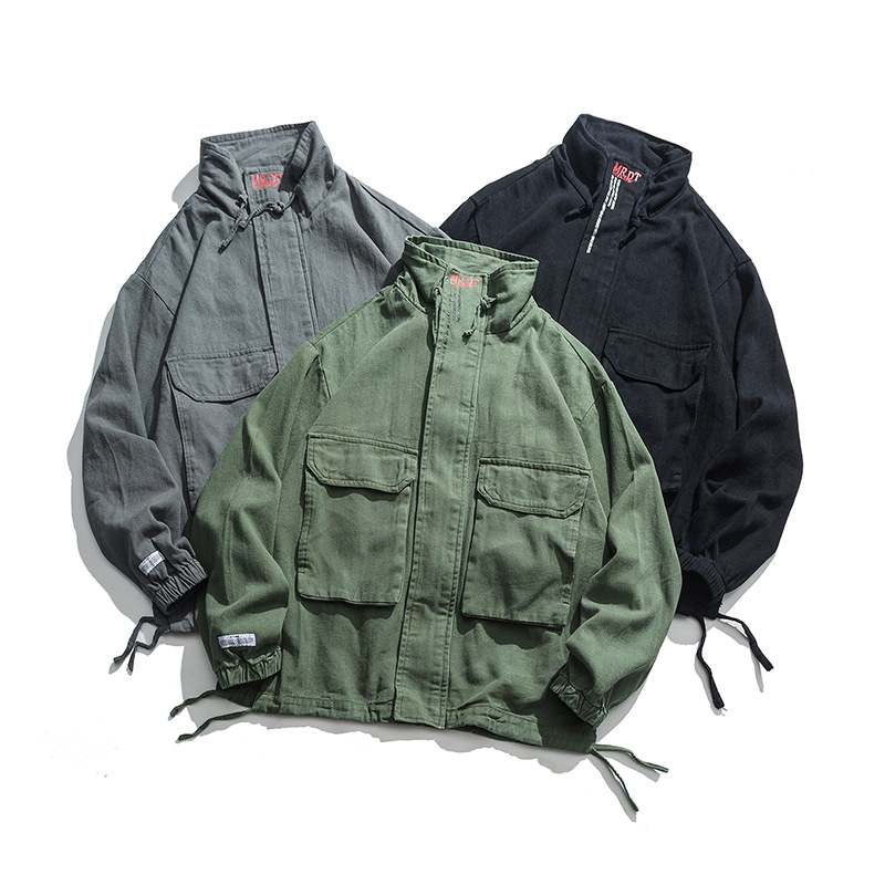 New Design Retro <strong>Military</strong> <strong>Style</strong> Cargo <strong>Jacket</strong> Mens Loose Pullover Vertical Collar <strong>Jacket</strong>