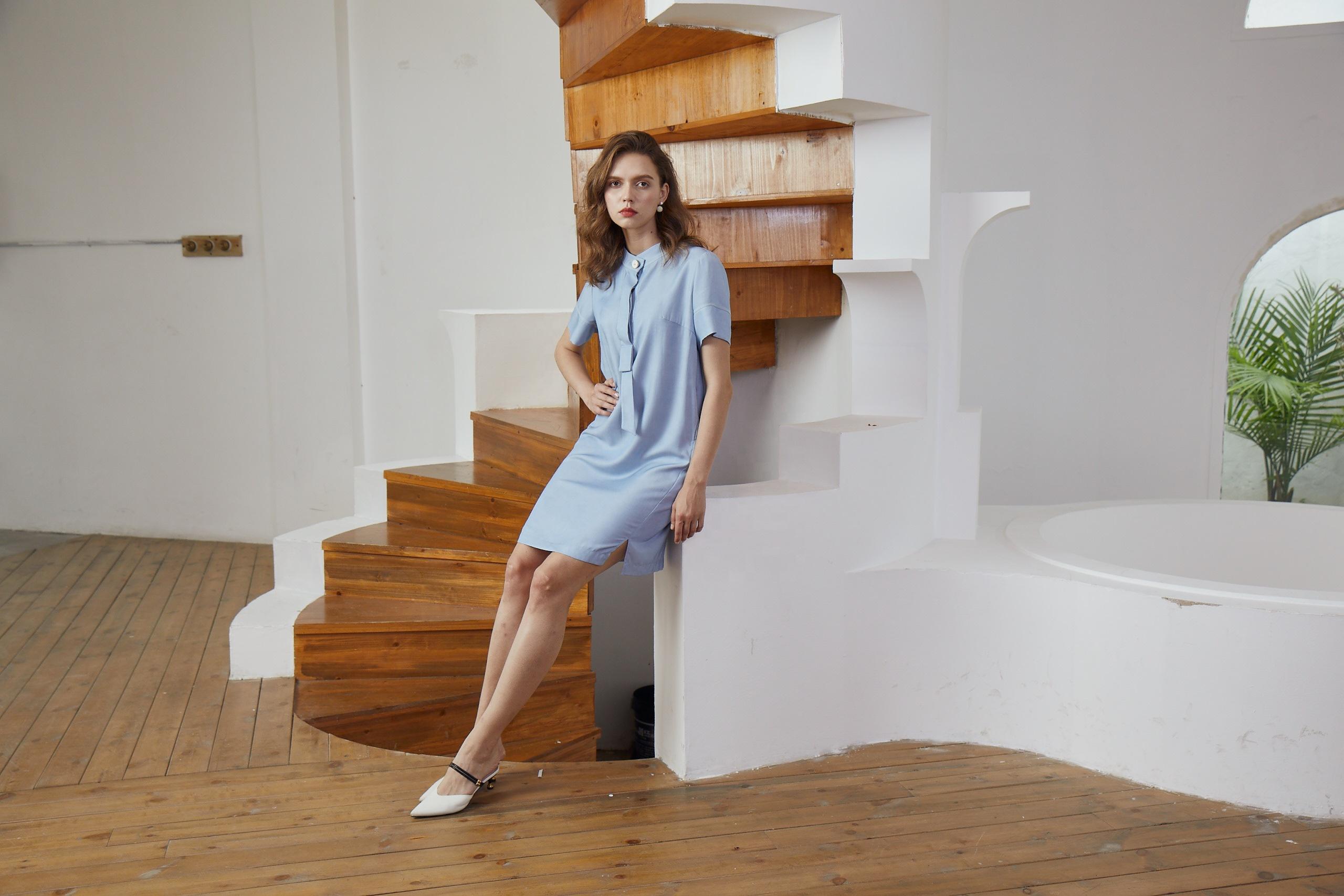 Tencel-like Dress 2020 Blue Casual Printing Fashion Women Dresses Summer