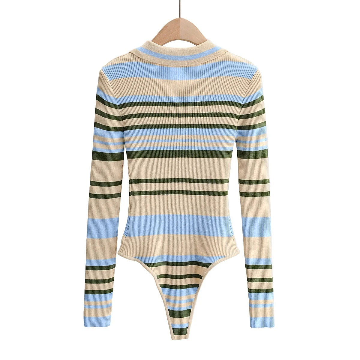 Ready To Ship Fall Winter High Quality Striped Sweater Long Sleeve Womens Bodysuits 2020