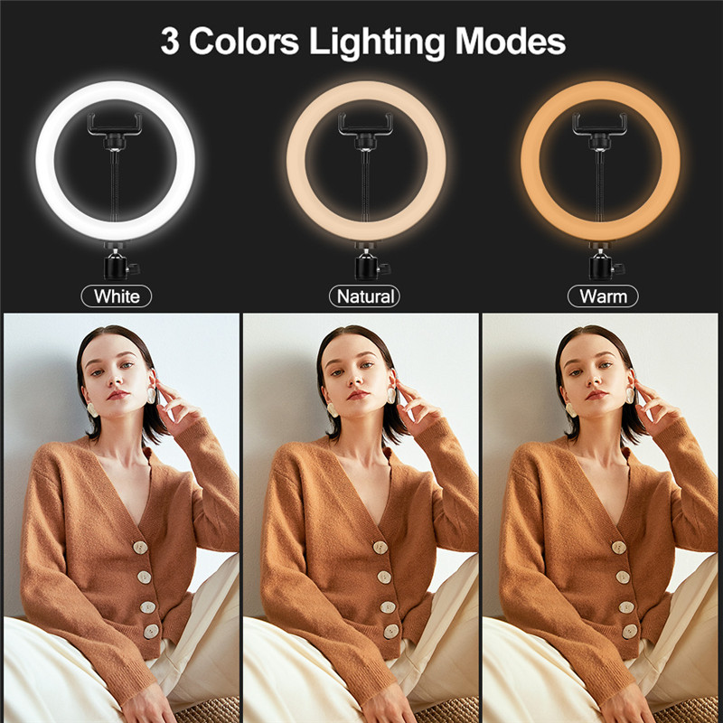 8 inch Selfie LED Ring Fill Light Dimmable Lamp Photo Video Camera Phone Holder