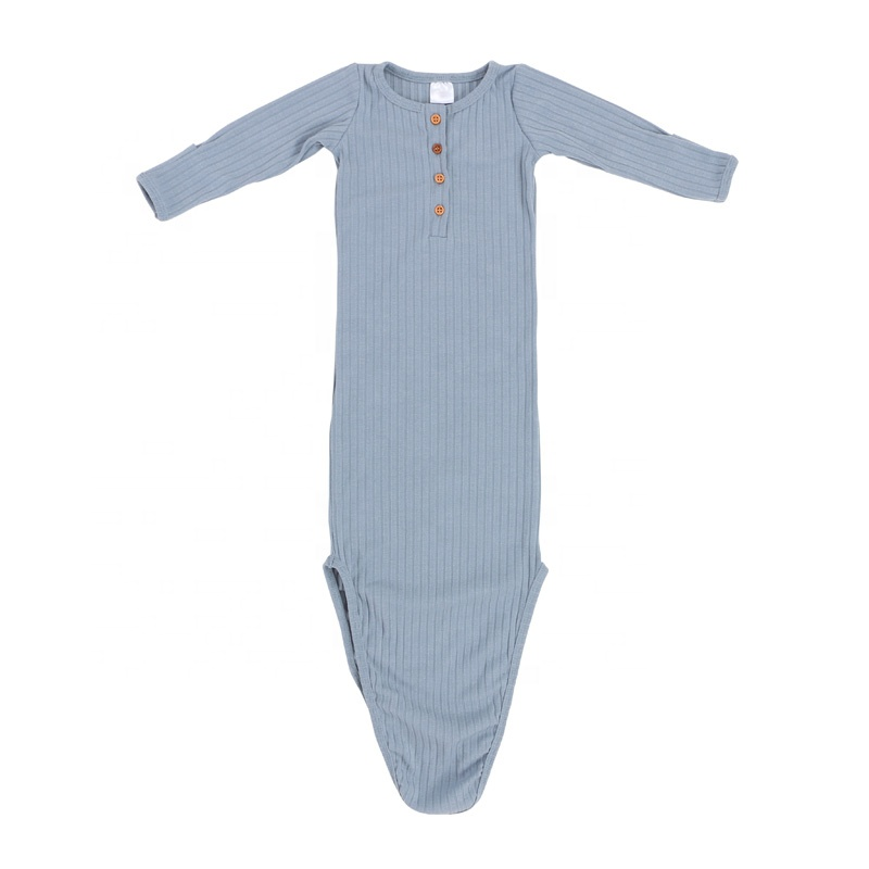 Wholesale custom clothing ribbed newborn baby clothes ribbing cotton romper gowns