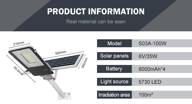 HUAPAI Super Brightness Hot Sale 2 Years Warranty SMD Ip65 Outdoor 100w Led Solar Street Light