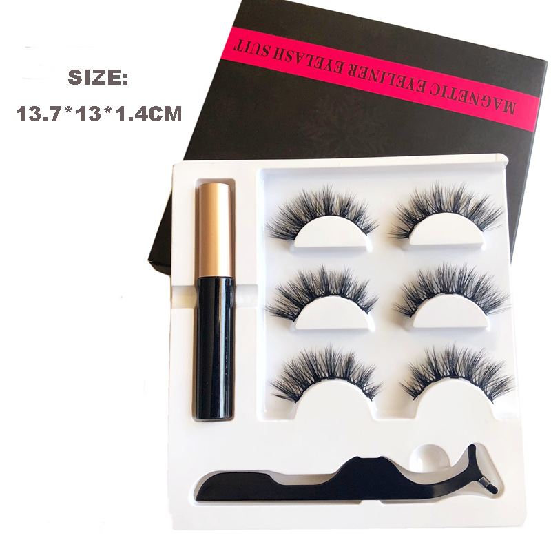 Super Silk Permanet Individual Wholesale 3 Pairs Magnetic Eyeliner False Eyelashes Box or Sets with a Tweezer