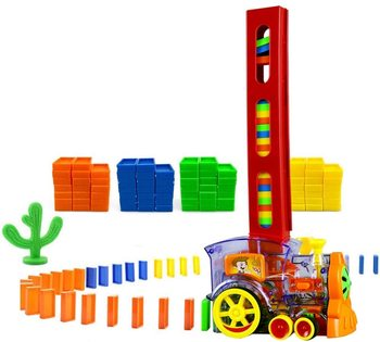 Domino Train 60PCS Blocks Rally Electric Toy Set Train Model with Lights and Sounds Construction and Stacking Toys