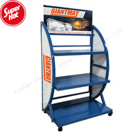 Giantmay Heavy Car Batteries Storage Rack Shelf with Wheels Metal Battery Display Stand