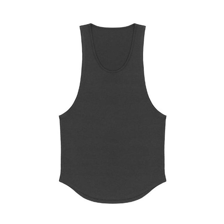Wholesale Cotton Curve Hem Blank Mens Athletic Work Out Compression Tank Top