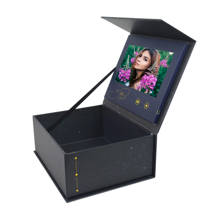 Digital Greeting Ring Jewelry Flower Rose Gift Display Lcd Screen Video Brochure Card Box