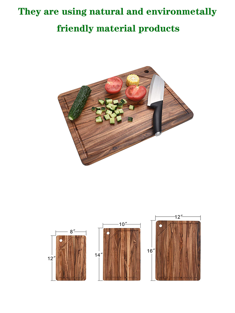 Acacia Wood Cutting Board (Set of 3) with Juice Grooves - Wooden Chopping Board for Meat, Vegetables, Fruit & Cheese