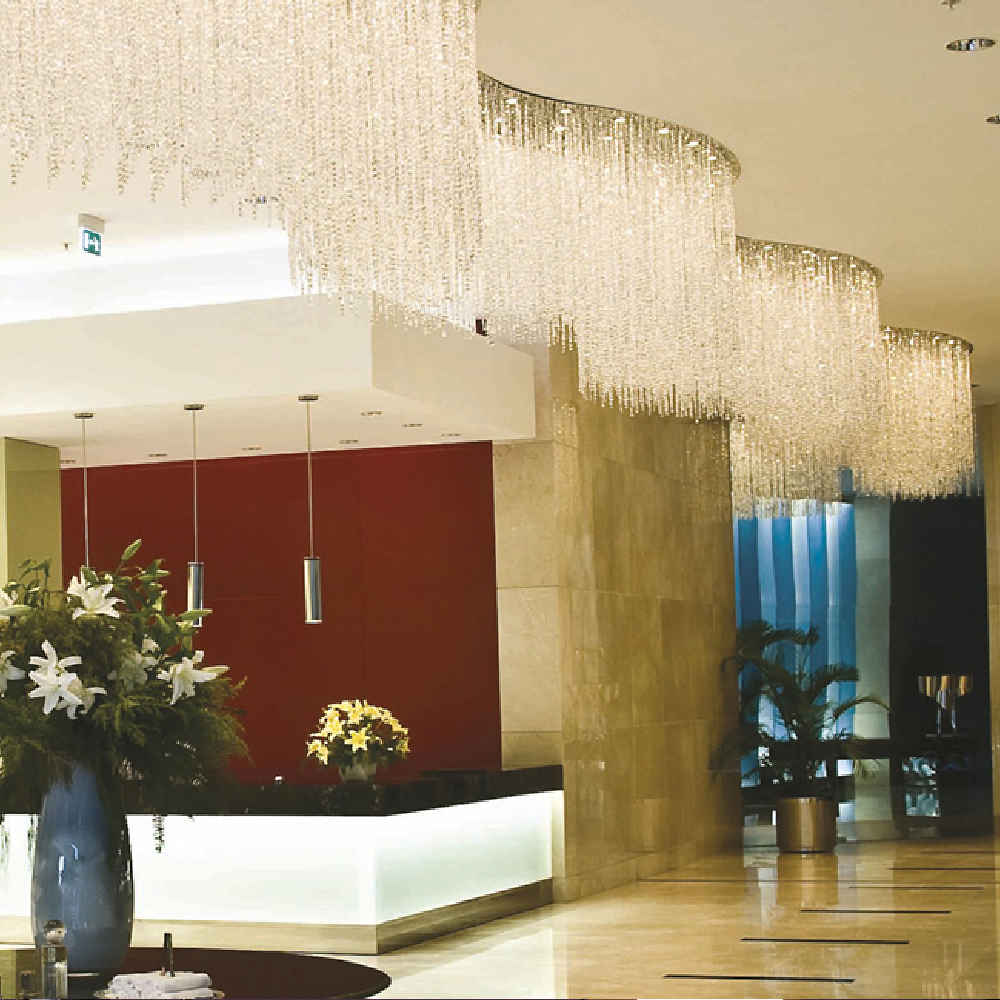 Wave ceiling flush mount crystal chandelier for reception