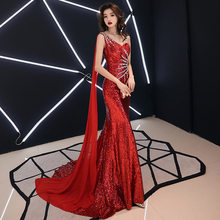 Китайское сексуальное Восточное женское платье-Чонсам на одно плечо в стиле русалки, вечерние платья для выступлений на сцене, платье Ципао...(Китай)