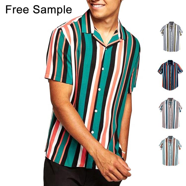 2019 oem धारी पुरुषों के शर्ट बटन बन्धन थोक लघु बांह की कमीज
