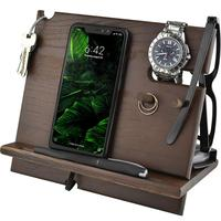 Custom Wood Cell Phone Stand Smartwatch Wallet Holder Dock Mobile Accessory Organizer