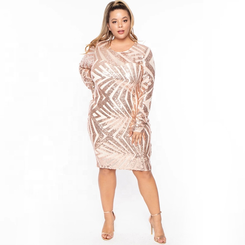 Sexy Mini Gold Evening Sequin Plus Size Dress Women