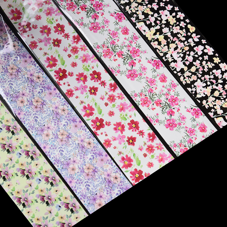 Multi colors designs wholesale nail art transfer decals foil roll 500m printed flower nail art foil transfer rolls