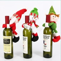 Happy New Year snowman holding wine set champagne bottle doll set bar restaurant Merry Christmas Santa Claus decoration
