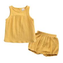 Комплект летней хлопковой одежды для девочек, жилет без рукавов + шорты, комплект детской одежды из 2 предметов, одежда для детей, комплект од...(Китай)