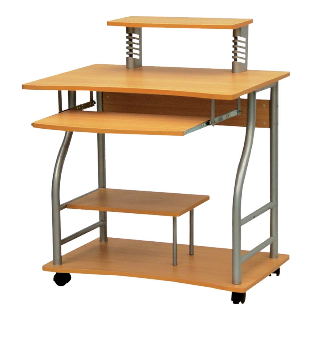 Steel And Wooden Computer Table On Wheels - Buy Computer Table On