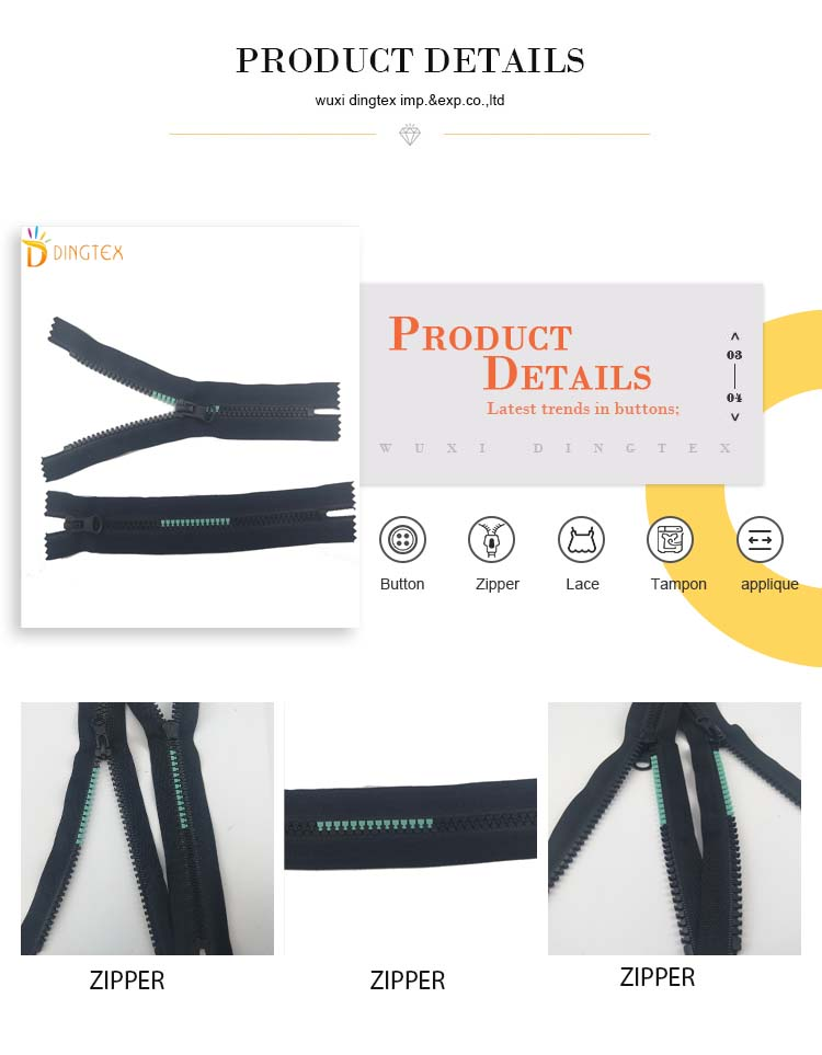 High quality auto lock close-end #5 plastic zipper resin zipper for garments bags