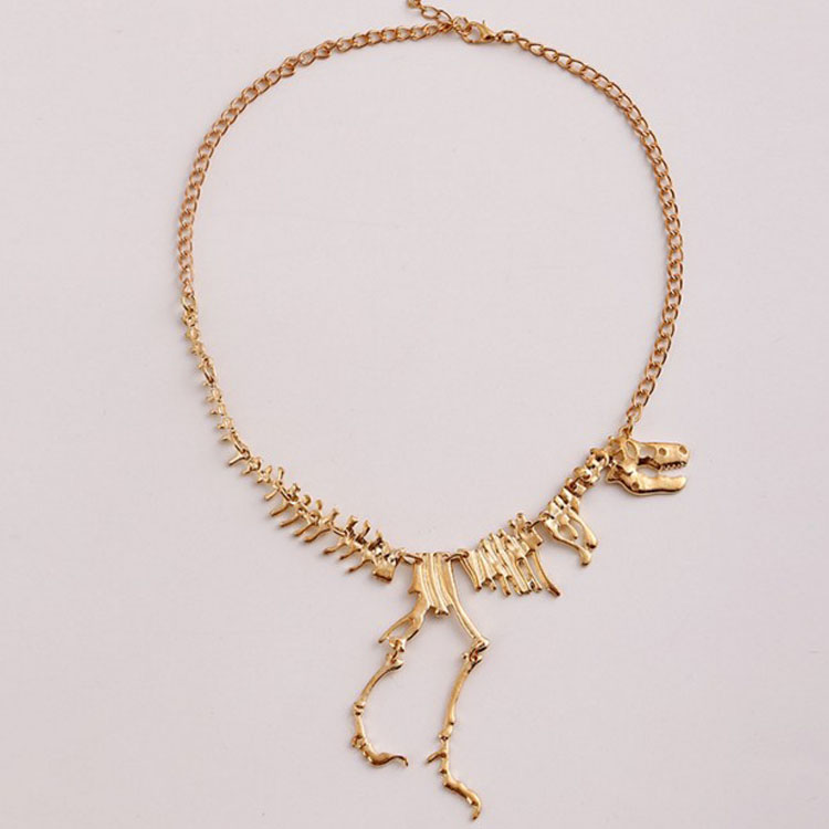 Amazon Latest Hot Selling Dinosaur Vintage Necklace Short Collar Fashion Costume Alloy Jewelry for Women Teens