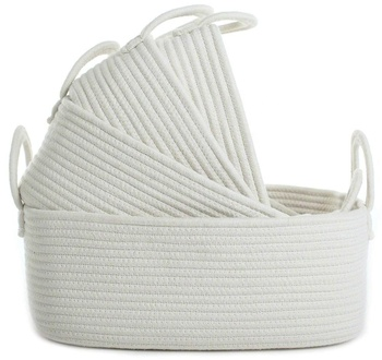 Cesta Blanca peque/ña Organizador para la lavander/ía de la guarder/ía Juguete para ni/ños Cesta Tejida Cesta de Cuerda de algod/ón Juego de 4 cestas de Almacenamiento