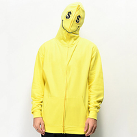 OEM polyester plain neon blank full face zip hoodie for men