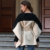 2019 new winter wool Contrast color splice Lace irregular Hem Woolen Overcoat Leisure England style coat