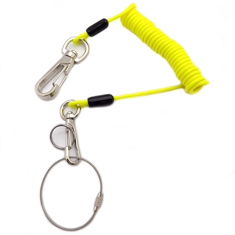 colorful Plastic Stretchy Spring Coil Keychain Key Ring with Metal Lobster Clasp