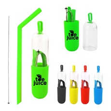 Smart design food grade 25 cm pipe-bending folded silicone portable straw with stainless steel washing cleaner in capsule case