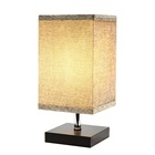 Depuley Nordic Warm White Decorative Square Fabric Shade Solid Wooden Base LED Table Lamp