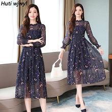Женское винтажное шифоновое платье миди с цветочным принтом на осень и зиму 2020, элегантные вечерние платья с длинным рукавом(Китай)